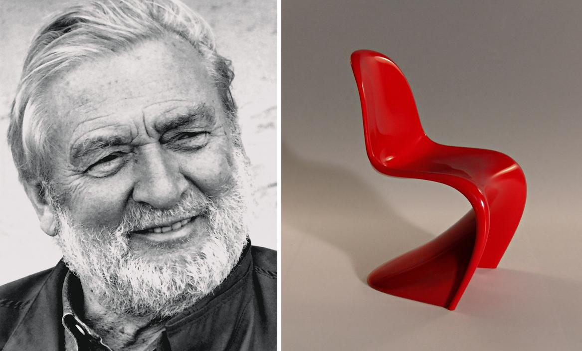 Panton chair and black and white photo of Verner Panton