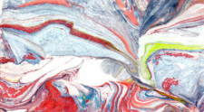 Marbled paper swirled with red, blue, and white