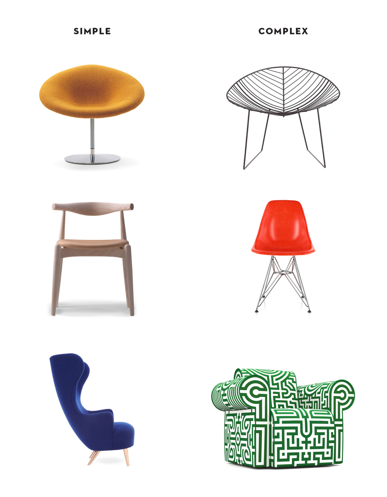 simple chair designs vs. complex chair designs
