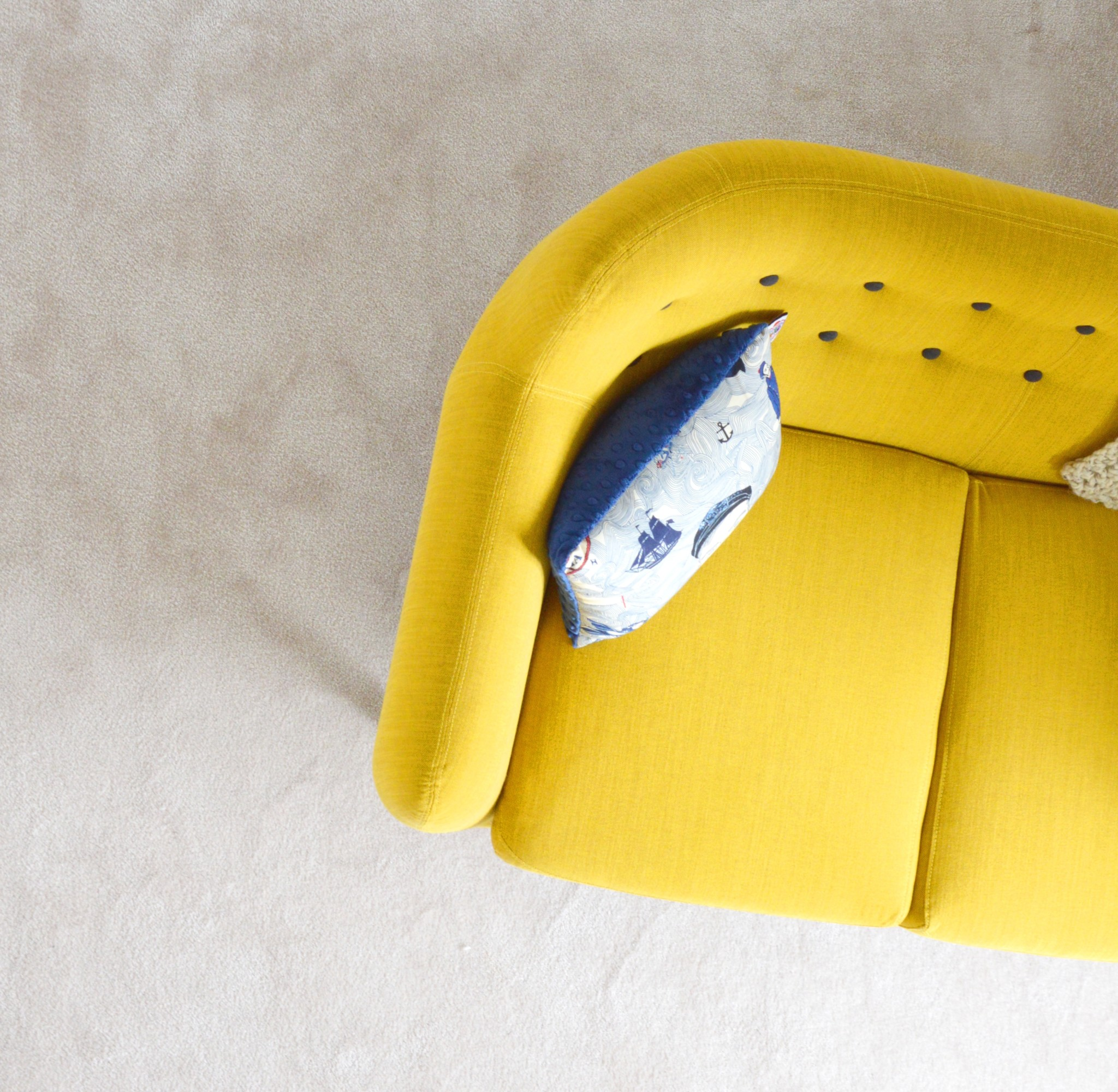 Yellow sofa edge