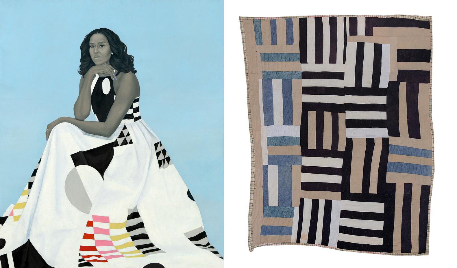 Michelle Obama portrait and quilt by Loretta Pettway