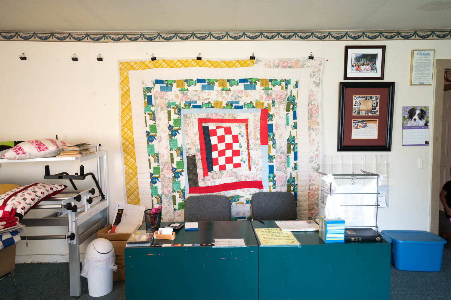 Inside at the Gee's Bend quilt collective